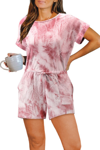 Red Pocketed Tie Dye Knit Romper