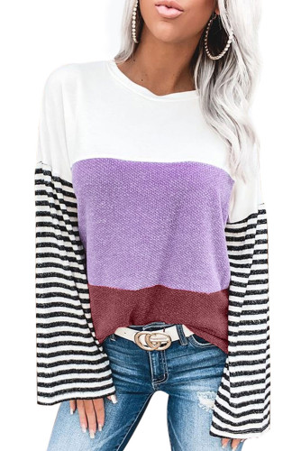 Relaxed Fit Colorblock Bell Sleeve Top LC251190