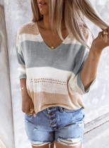 Gray Long Sleeve Loose Casual Knit Top