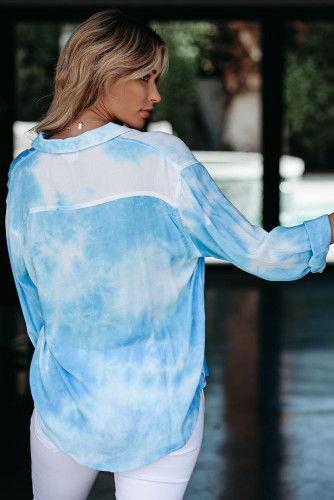 Blue Whirlwind Tie Dye Button Shirt with Pocket LC255009