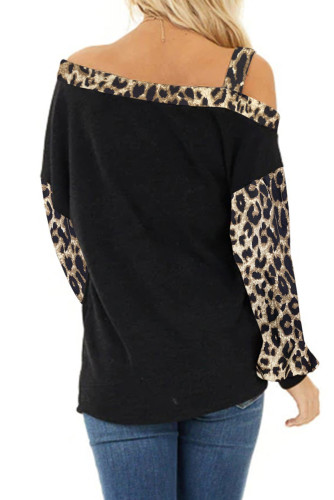 Dew Shoulder Leopard Stitching Long-sleeved Blouse LC251155