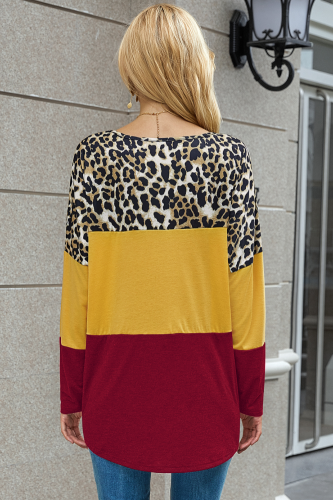 Wine Red Leopard Patchwork Long Sleeve T-shirt XC777