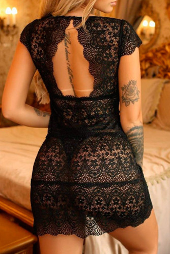 Black Deep V Neck Lace Nightgown LC35003