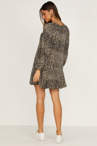 Black Leopard Print V Neck Long Sleeves Mini Dress LC221428