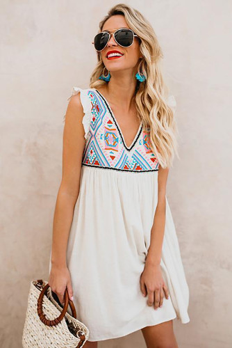 Summer Beach Floral Sleeveless V Neck Mini Dress