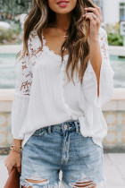 White Crochet Lace Button Top