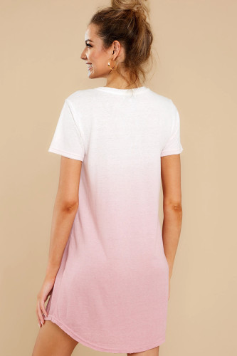 Ombre Pink Cotton T-shirt Dress LC44004