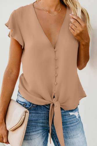 Apricot Forever Tonight Button Down Tie Top