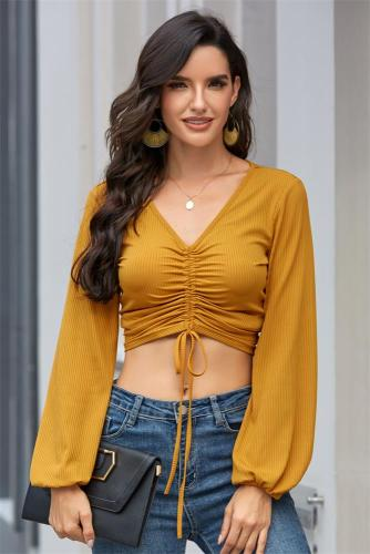 Yellow Solid Drawstring V-neck Crop Top