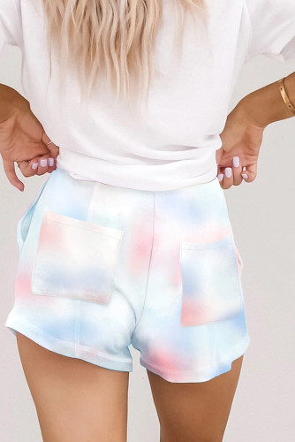 Red Knit Tie Dye Lounge Shorts LC77349