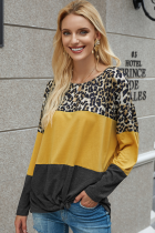 Black Leopard Patchwork Long Sleeve T-shirt