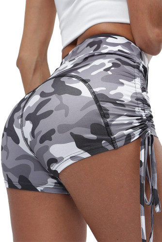 Gray Camo Print High Waist Side Ruched Fitness Yoga Shorts