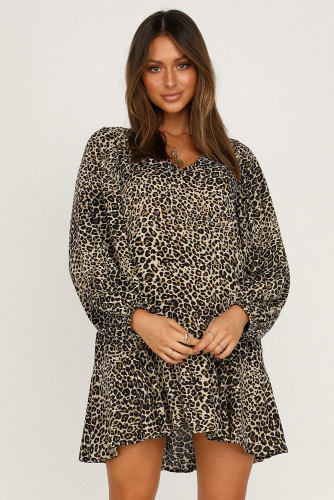 Black Leopard Print V Neck Long Sleeves Mini Dress