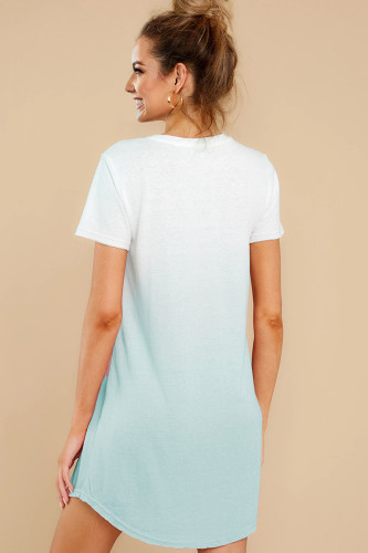 Ombre Blue Cotton T-shirt Dress LC44004