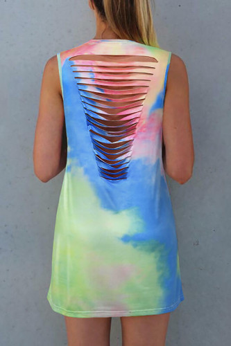 Tie Dye Hollow Out Sleeveless Mini Dress LC221030