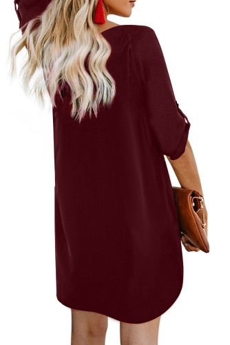 Wine V Neck Button Front Roll up Tab Sleeve Dress LC220790
