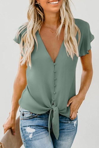 Green Forever Tonight Button Down Tie Top