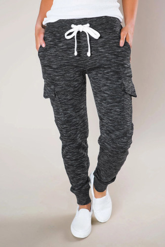 Heathered Black Pocketed Casual Joggers