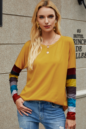 Yellow Striped Sleeve Top
