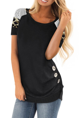 Black Color Block Short Sleeve Loose Fit Top