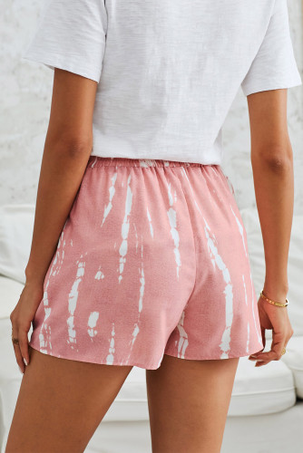 Pink Tie Dye Drawstring Casual Shorts LC77002