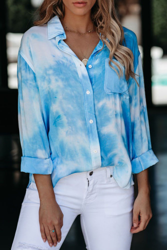 Blue Whirlwind Tie Dye Button Shirt with Pocket