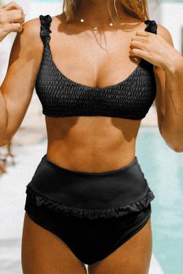 Black Smocked High Waist Bikini Set