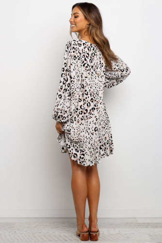White Leopard Print V Neck Long Sleeves Mini Dress LC221428