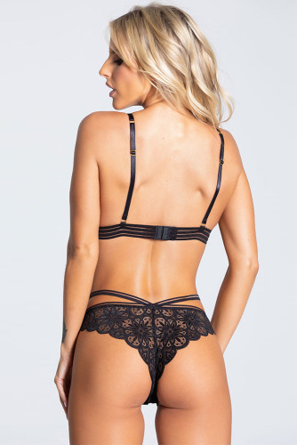 Black Strappy Lace Bralette Set LC35063