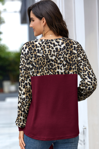 Wine Red Leopard Patchwork Tie Knot T-shirt XC784