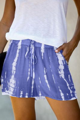 Blue Tie Dye Drawstring Casual Shorts