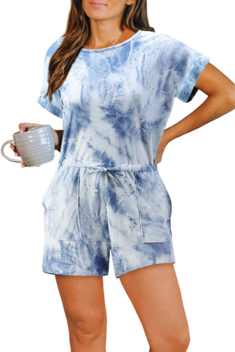 Blue Pocketed Tie Dye Knit Romper