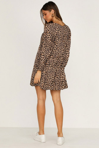 Leopard Print V Neck Long Sleeves Mini Dress LC221428