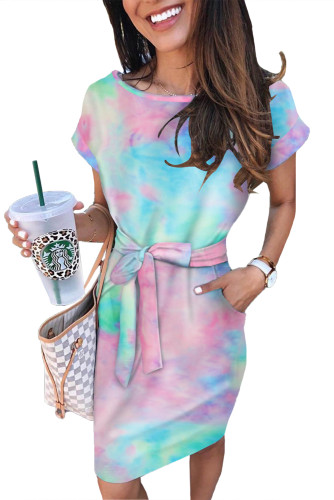 Multicolor Tie-dye Pocketed T-shirt Dress with Belt LC611731