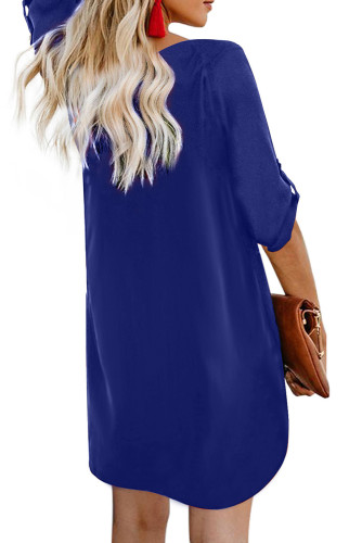 Blue V Neck Button Front Roll up Tab Sleeve Dress LC220790