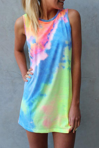 Tie Dye Hollow Out Sleeveless Mini Dress