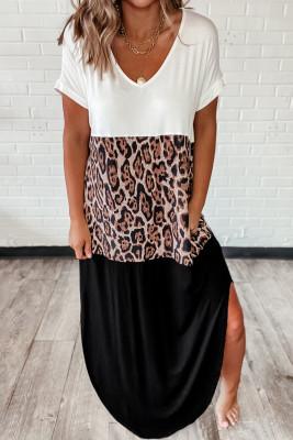 Colorblock Leopard Cotton Blend Casual Maxi T-shirt Dress