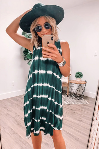 Navy Tie-dye Tank Dress