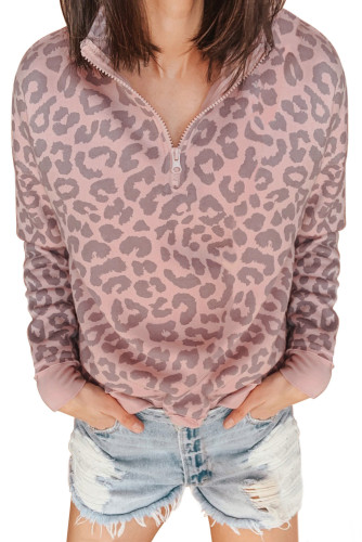 Pink Leopard Zipped Collar Sweatshirt LC253327