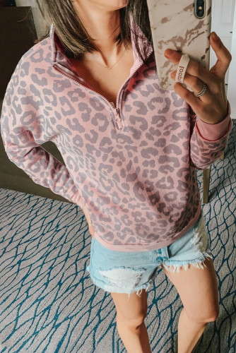 Pink Leopard Zipped Collar Sweatshirt