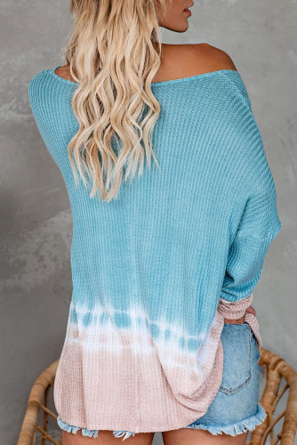 Sky Blue Tie Dye Thermal Knit Top LC251545