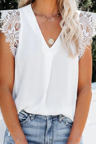 White Sleeveless Crochet Lace Blouse