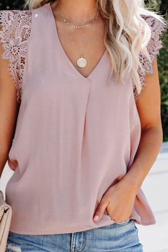 Pink Sleeveless Crochet Lace Blouse