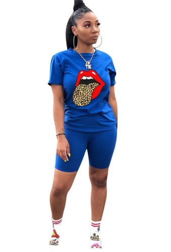 Leopard Lip Print Plus Size 2pcs Set