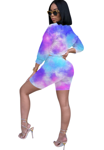 Tie Dye Ombre Colorblock Shorts Set 8266-1