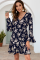 Navy Floral Printed V-neck Drawstring Dress