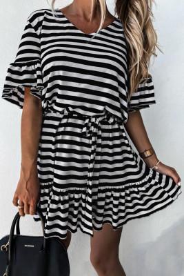 Black Stripes Ruffle Short Dress