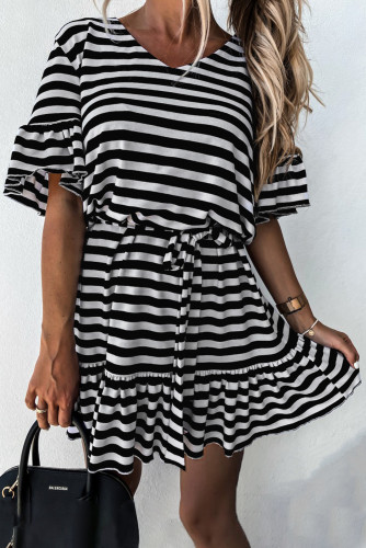 Black Stripes Ruffle Short Dress