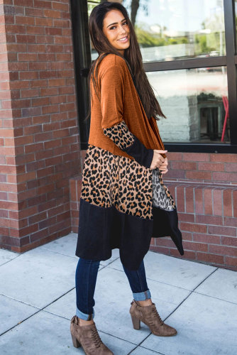 Orange Leopard Splicing Colorblock Cardigan LC851161