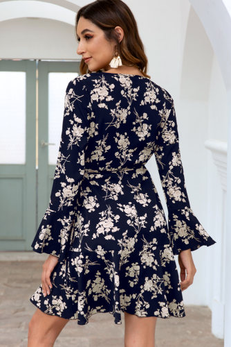 Navy Floral Printed V-neck Drawstring Dress XC801